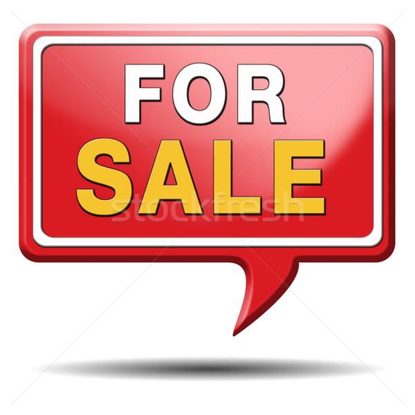 Vásár felirat elad ház lakás egyéb Stock fotó © kikkerdirk