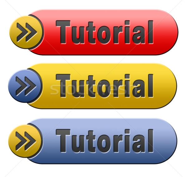 Tutorial gomb tanul online videó lecke Stock fotó © kikkerdirk