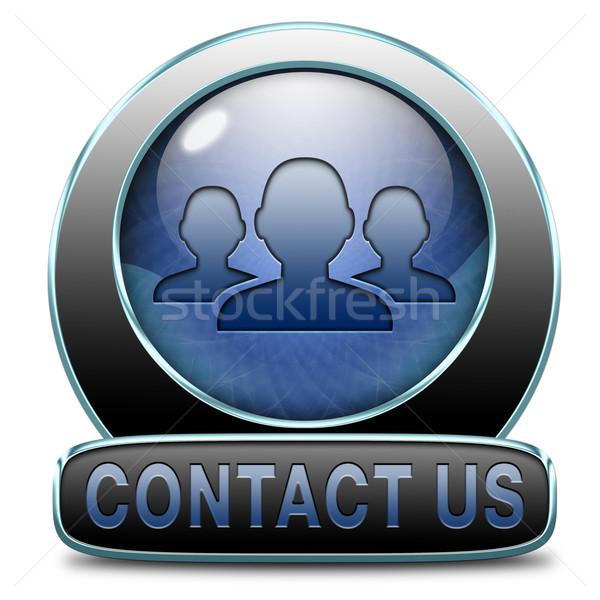 Kapcsolatfelvétel itt visszajelzés ikon felirat cím Stock fotó © kikkerdirk