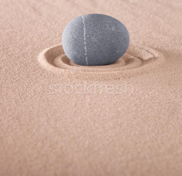 Zen meditasyon taş daire kum Japon Stok fotoğraf © kikkerdirk
