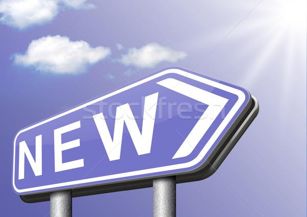 Marka nowego górę model sklepu banner Zdjęcia stock © kikkerdirk