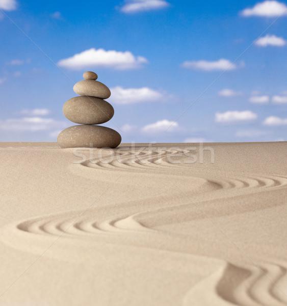 Zen meditáció kő hagyományos japán kert Stock fotó © kikkerdirk