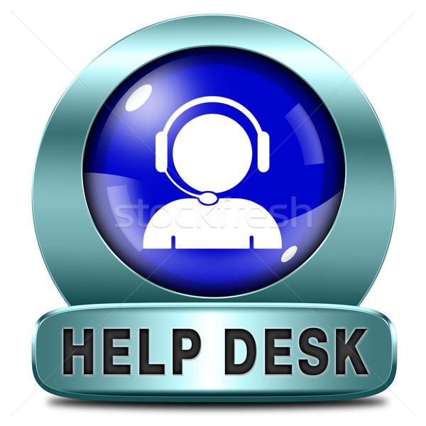 Segítség asztal ikon gomb online támogatás Stock fotó © kikkerdirk