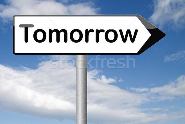 ストックフォト: 明日 · 次 · 日 · バナー · すぐに来る · 何