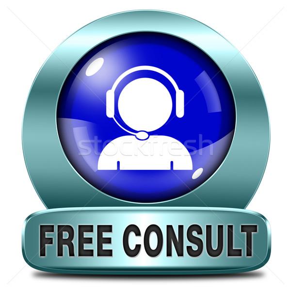 свободный консультации икона помочь информации столе Сток-фото © kikkerdirk