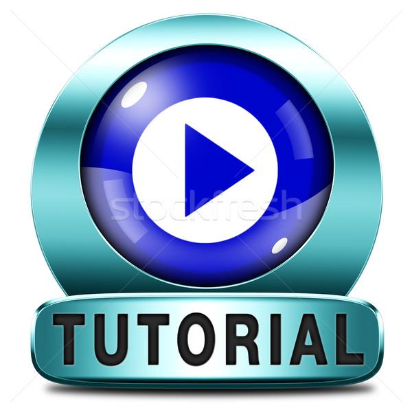 Eğitimi ikon öğrenmek çevrimiçi video ders Stok fotoğraf © kikkerdirk