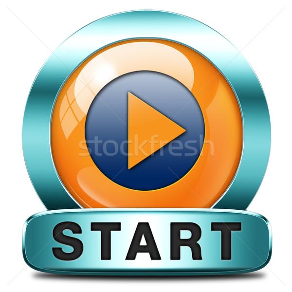 Początku ikona gry film wideo nowego Zdjęcia stock © kikkerdirk
