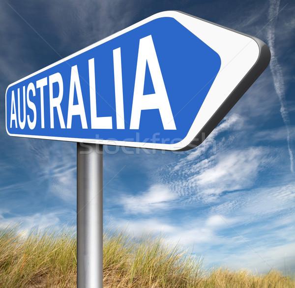 Австралия знак вниз континент туризма праздник Сток-фото © kikkerdirk
