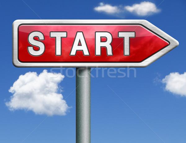 Początku znak drogowy arrow przycisk ikona nowego Zdjęcia stock © kikkerdirk