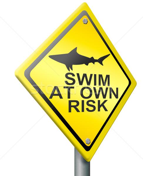 Yüzmek kendi risk köpekbalığı saldırı uyarmak Stok fotoğraf © kikkerdirk