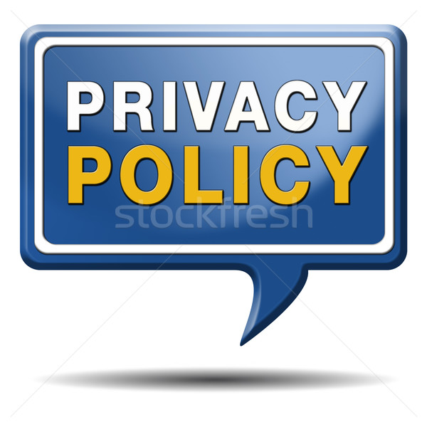 Stock photo: privacy policy blue text balloon