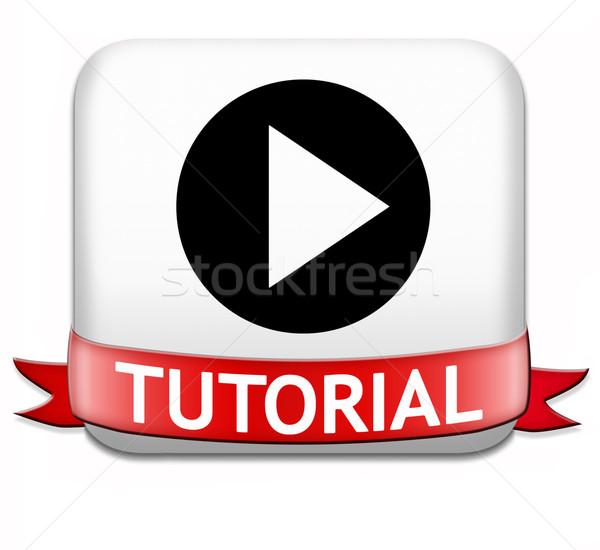 Tutorial pulsante imparare online video lezione Foto d'archivio © kikkerdirk