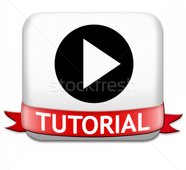 Tutoriel bouton apprendre ligne vidéo leçon Photo stock © kikkerdirk