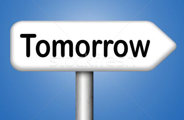 Stockfoto: Morgen · verkeersbord · volgende · dag · banner · binnenkort