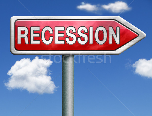 рецессия дорожный знак стрелка кризис банка складе Сток-фото © kikkerdirk
