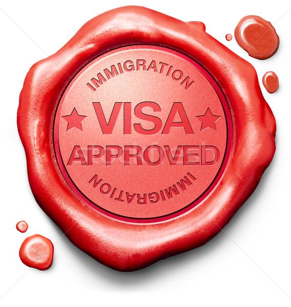 VISA elismert bevándorlás bélyeg keret vám Stock fotó © kikkerdirk
