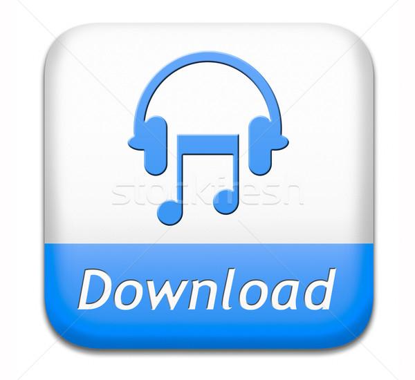 Musique téléchargement bouton jouer écouter vivre Photo stock © kikkerdirk