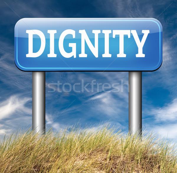 Dignidade auto-estima respeito confiança orgulho placa sinalizadora Foto stock © kikkerdirk