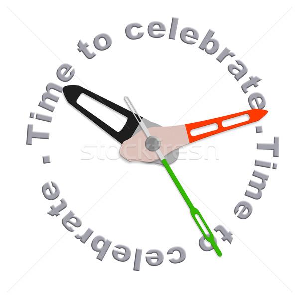 Сток-фото: время · праздновать · party · time · изолированный · часы · текста