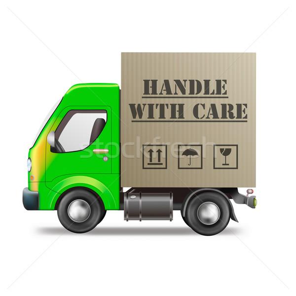 Manusear cuidar caminhão de entrega frágil pacote Foto stock © kikkerdirk