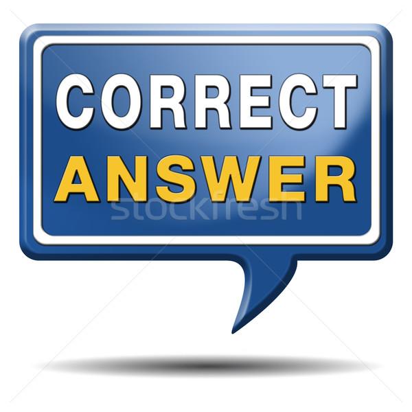 Düzeltmek doğru cevap seçim başarı düğme Stok fotoğraf © kikkerdirk
