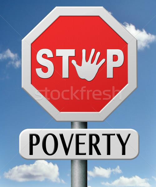 Durdurmak yoksulluk yardım kırmızı evsiz yol işareti Stok fotoğraf © kikkerdirk