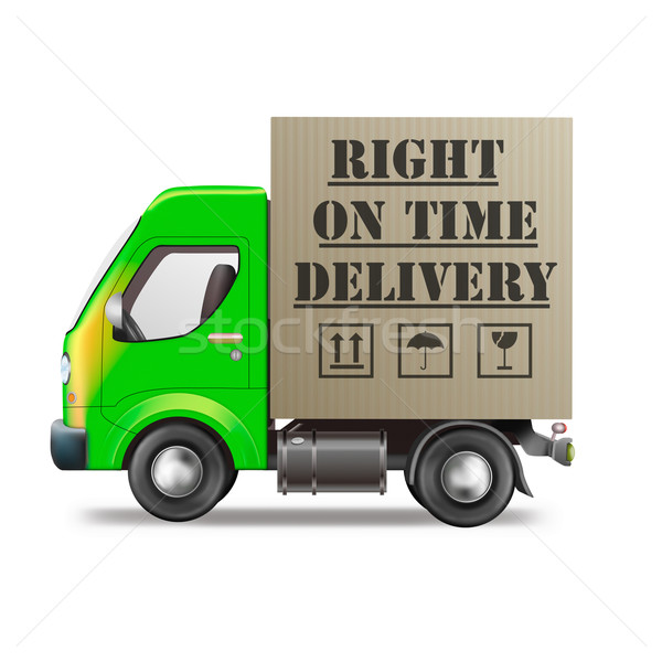Helyes idő házhozszállítás szállítóautó logisztika ikon Stock fotó © kikkerdirk