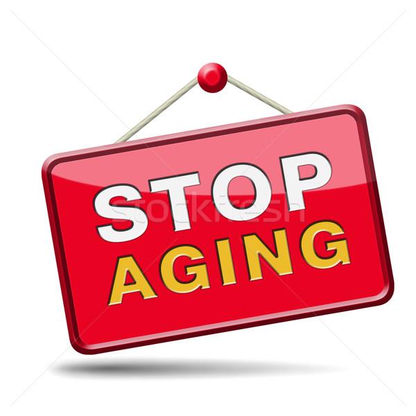 Foto d'archivio: Stop · invecchiamento · soggiorno · per · sempre · guardando · non