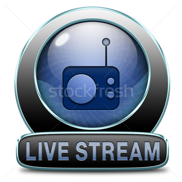 Live stream radio muziek knop icon Stockfoto © kikkerdirk