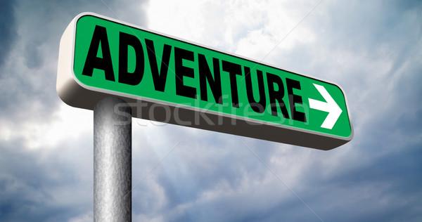 Aventura placa sinalizadora viajar mundo aventureiro Foto stock © kikkerdirk