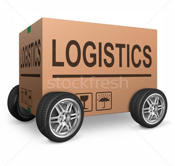Logistique boîte transport texte transport Photo stock © kikkerdirk