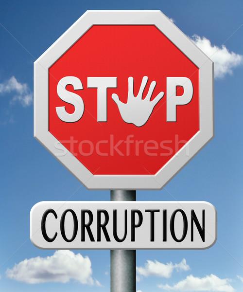 Stop korrupció politikai rendőrség konzerv üzlet Stock fotó © kikkerdirk