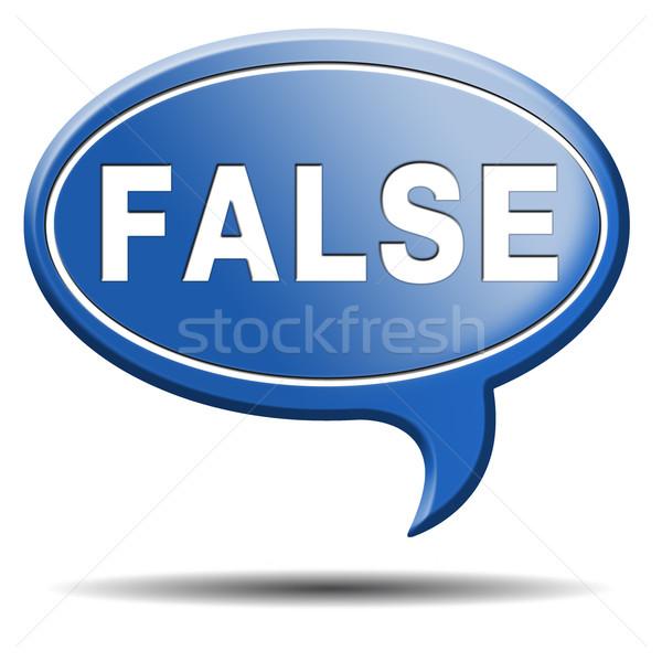 Vals verkeerd knop label icon Stockfoto © kikkerdirk