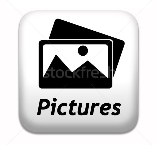 фотографий галерея фотографий изображение кнопки икона Сток-фото © kikkerdirk