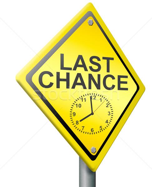 Laatste kans gelegenheid tijd klok weg Stockfoto © kikkerdirk