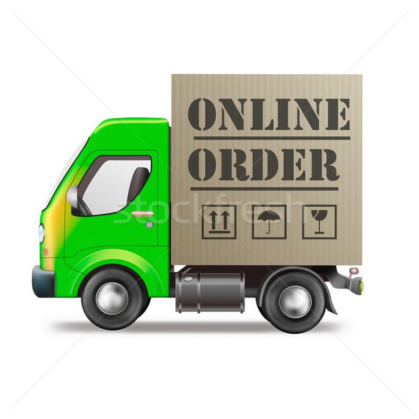 Online om internet winkel pakketdienst vrachtwagen Stockfoto © kikkerdirk