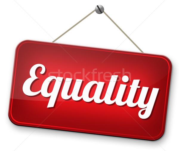 Gelijkheid man vrouwen solidariteit gelijk rechten Stockfoto © kikkerdirk
