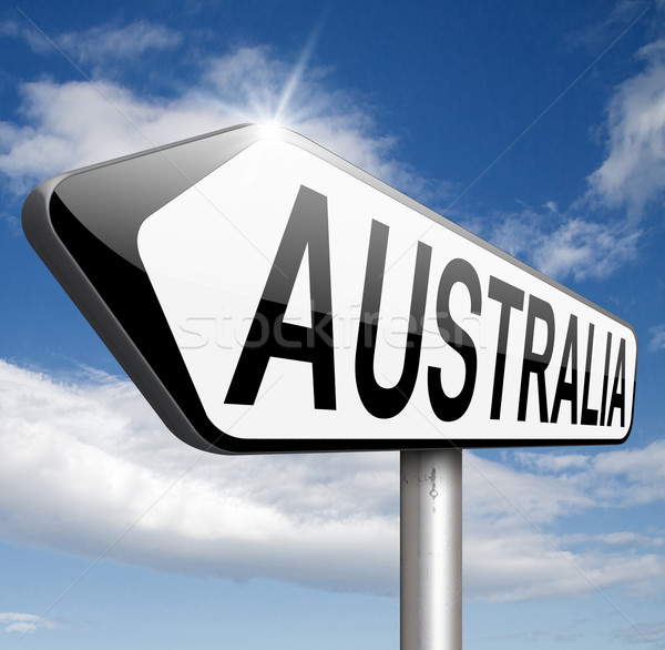 Austrália assinar para baixo continente turismo férias Foto stock © kikkerdirk