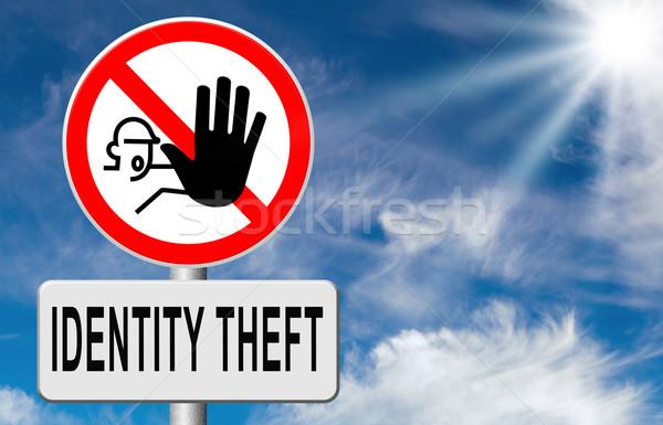 Stop személyazonosság-lopás figyelmeztető jel lop személyi igazolvány online Stock fotó © kikkerdirk