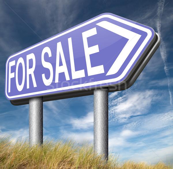 Vásár felirat jelzőtábla elad vásárol internet Stock fotó © kikkerdirk