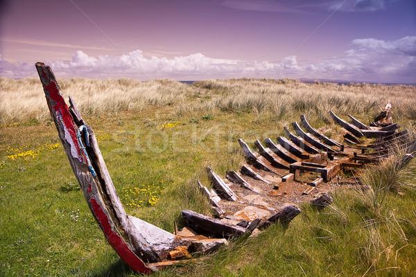 Gemi enkazı kaza geleneksel İrlandalı kürek çekme tekne Stok fotoğraf © kikkerdirk