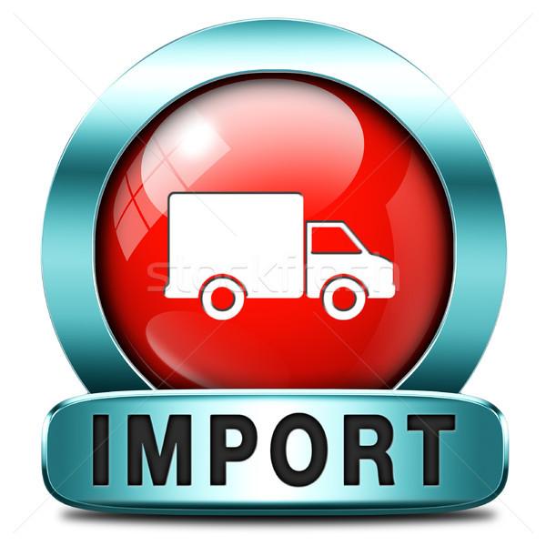 Import ikon nemzetközi világszerte globális kereskedelem Stock fotó © kikkerdirk