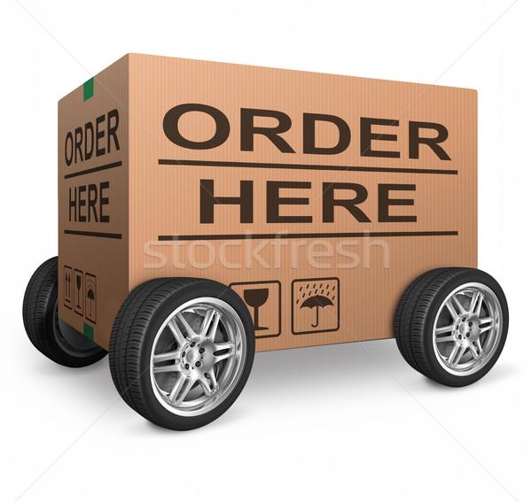 Zdjęcia stock: Celu · tutaj · karton · ikona · internetowych · sklep