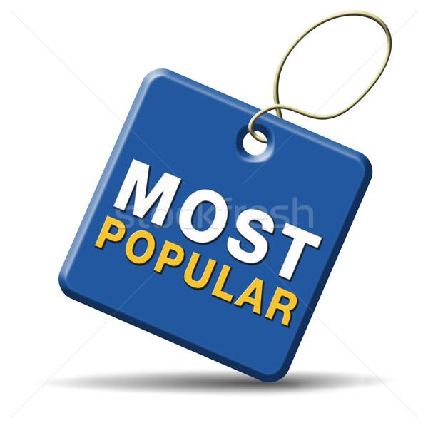 популярный знак популярность Label икона Лидеры продаж Сток-фото © kikkerdirk