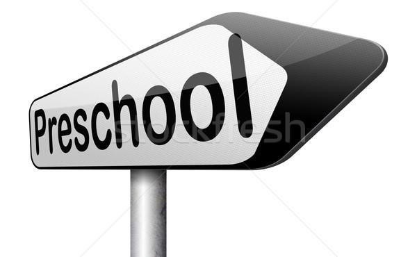 óvoda oktatás óvoda óvoda iskola felirat Stock fotó © kikkerdirk