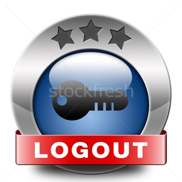 Kijelentkezés ikon felhasználó tag gomb szalag Stock fotó © kikkerdirk