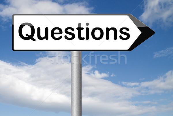 Pytania odpowiedzi podpisania pytanie wyszukiwania pojęcia Zdjęcia stock © kikkerdirk