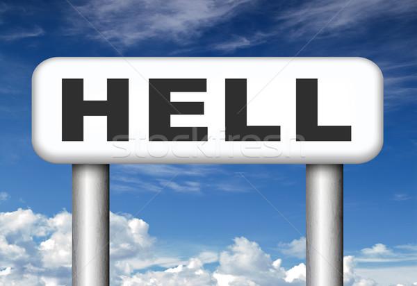 Bem-vindo inferno lol diabo catástrofe assinar Foto stock © kikkerdirk