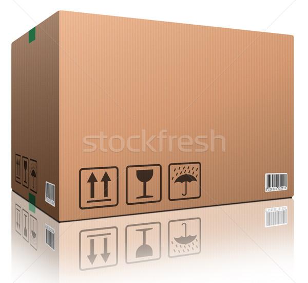 Caja de cartón espacio de la copia aislado blanco marrón paquete Foto stock © kikkerdirk