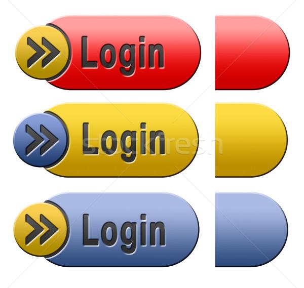 Inloggen knop icon teken Rood Stockfoto © kikkerdirk
